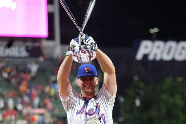 New York Mets slugger Pete Alonso, shown July 8, 2019, won the Home Run Derby in 2019. The 2020 Derby was canceled because of the COVID-19 pandemic. File Photo by Aaron Josefczyk/UPI