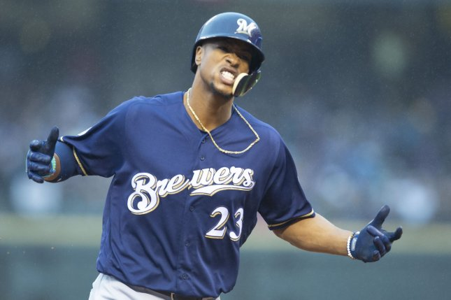 Milwaukee Brewers batter Keon Broxton reacts after his solo home run during the ninth inning against the Colorado Rockies in National League Divisional Series game three on Sunday at Coors Field in Denver. Photo by Gary C. Caskey/UPI