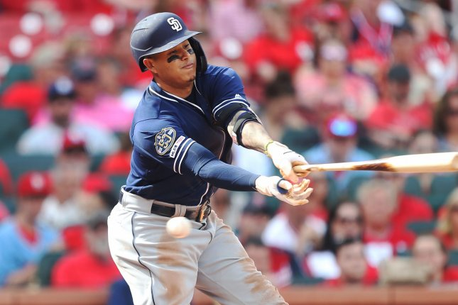 San Diego Padres Manny Machado is off to a solid start for his new team in San Diego, hitting .245 with four homers and eight RBI in 15 games, also playing great defense at third base. File Photo by Bill Greenblatt/UPI