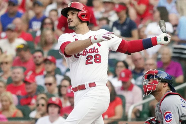 St. Louis Cardinals third baseman Nolan Arenado hits a two-run home against the Chicago Cubs in the third inning Thursday at Busch Stadium in St. Louis. Photo by Bill Greenblatt/UPI