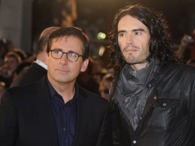 American actor Steve Carell and British actor/comedian Russell Brand attend the premiere of Despicable Me at Empire, Leicester Square in London on October 11, 2010. UPI/Rune Hellestad