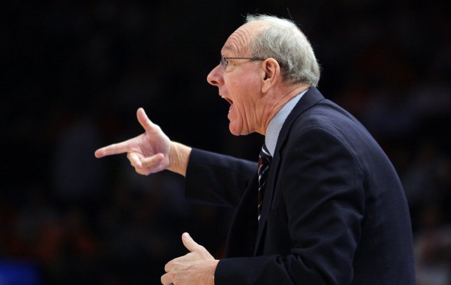 Syracuse Orange head coach Jim Boeheim reacts in the first half against the Connecticut Huskies at the NCAA Big East Basketball Championship at Madison Square Garden in New York City on March 8, 2012. UPI/John Angelillo