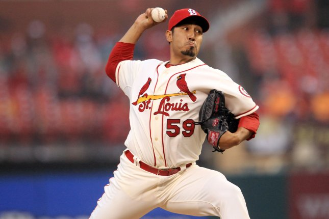 Former St. Louis Cardinals pitcher Fernando Salas delivers a pitch to the Pittsburgh Pirates in the eighth inning at Busch Stadium in St. Louis on April 27, 2013. Pittsburgh won the game 5-3. UPI/Bill Greenblatt