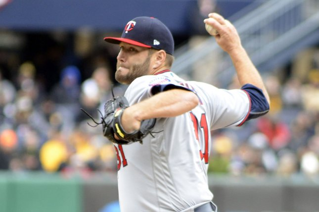 Minnesota Twins starting pitcher Lance Lynn (31) throws in the first inning against the Pittsburgh Pirates on April 2, 2018 at PNC Park in Pittsburgh. Photo by Archie Carpenter/UPI