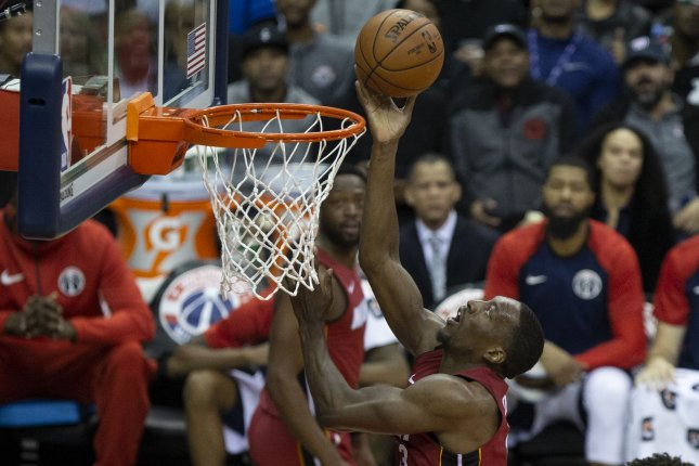 Miami Heat center Bam Adebayo (13) had six points, seven rebounds and three blocks in a loss to the Orlando Magic on Tuesday in Miami. Photo by Alex Edelman/UPI