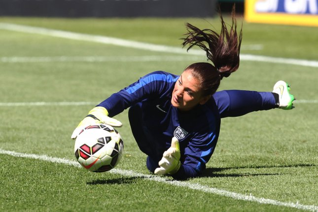Former USA goalkeeper Hope Solo won Olympic gold medals in 2008 and 2012. File Photo by Bill Greenblatt/UPI