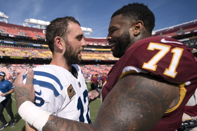 Washington Redskins left tackle Trent Williams (71) is considered one of the best offensive lineman in football. File Photo by Kevin Dietsch/UPI
