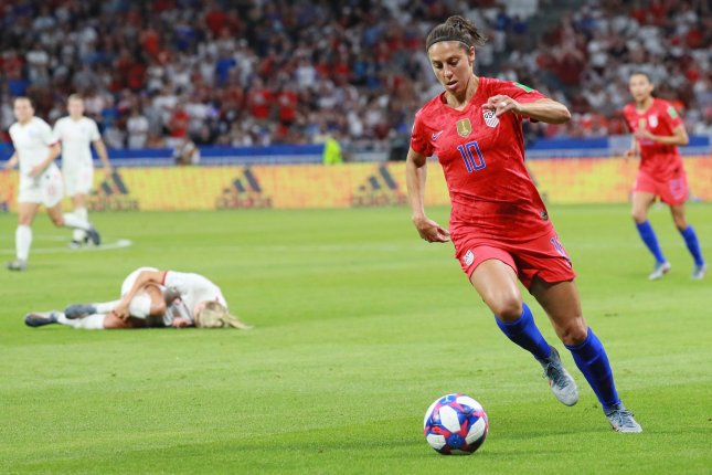 Carli Lloyd of Team USA had a goal and an assist in the team's 4-0 victory over Portugal on Thursday. File Photo by David Silpa/UPI