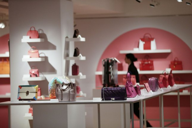 The United States has announced a 25 percent tariff on French goods, including handbags, cosmetics and soaps. In this December 2019 file photo, a collection of rare handbags is on display at a press preview for Christie's Luxury Week New York. Photo by John Angelillo/UPI