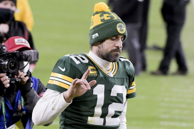 Aaron Rodgers walks off the field after the Green Bay Packers loss to the Tampa Bay Buccaneers in the NFC Championship game on Sunday in Green Bay, Wis. Photo by Mark Black/UPI