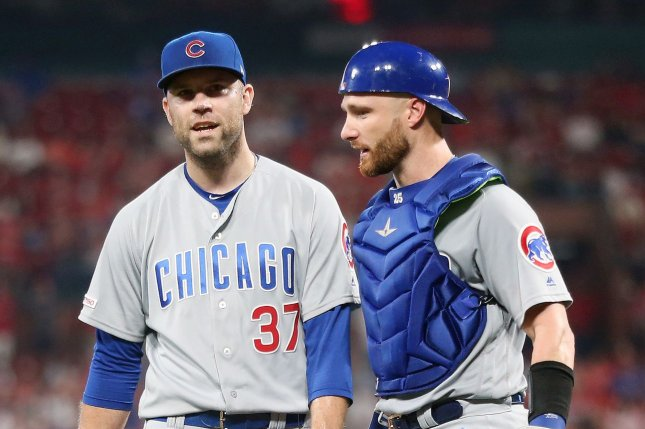 Former Chicago Cubs pitcher David Phelps (L), shown Sept. 28, 2019, is in his second stint with the Toronto Blue Jays. He last pitched May 2 against the Atlanta Braves. File Photo by Bill Greenblatt/UPI
