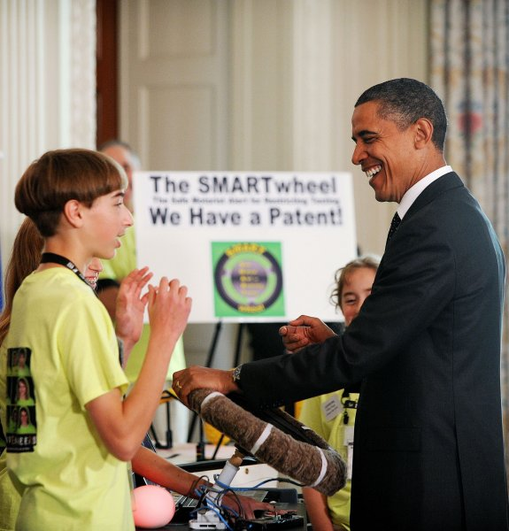 President Barack Obama tours students science fair projects exhibits during the White House Science Fair, in the State Dining Room of the White House, in Washington, October 18, 2010. UPI/Olivier Douliery/Pool