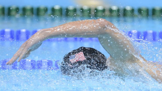 Micheal Phelps swims in the men's 200M individual medley final in London on August 2. UPI/Brian Kersey