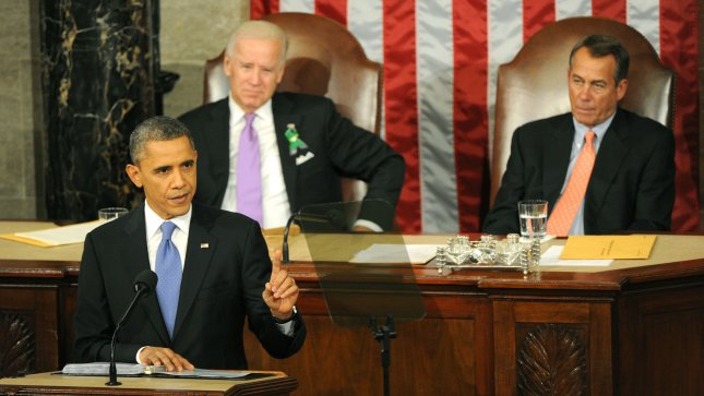 President Barack Obama delivers his State of the Union address during a joint session of Congress on February 12, 2013 at the U.S. Capitol Building in Washington, DC. Seated behind Obama were Vice President Joe Biden (L) and Speaker of the House John Boehner (R-OH). UPI/Kevin Dietsch