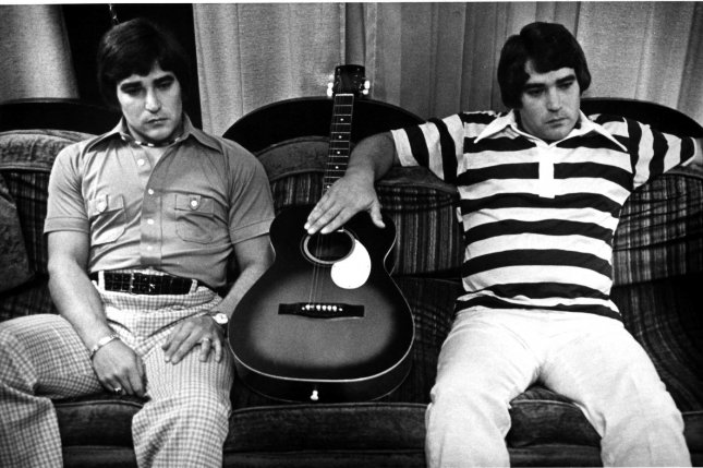 Identical twins like Jerry and Terry Presley, distant cousins of rock 'n' roll king Elvis Presley, share nearly identical DNA sequences. But new research may offer a cost-effective way to distinguish differences. File photo by UPI