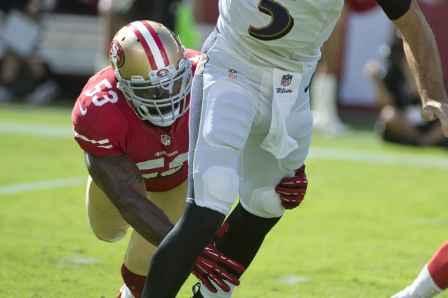San Francisco 49ers NaVorro Bowman (53) is entering his seventh season for the franchise. File photo by Terry Schmitt/UPI