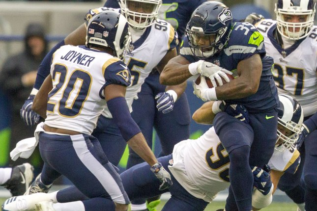 Seattle Seahawks running back Mike Davis races for the end zone during a game against the Los Angeles Rams in December. Photo by Jim Bryant/UPI