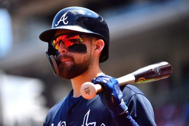 Ender Inciarte and the Atlanta Braves face the Tampa Bay Rays on Wednesday. Photo by Kevin Dietsch/UPI