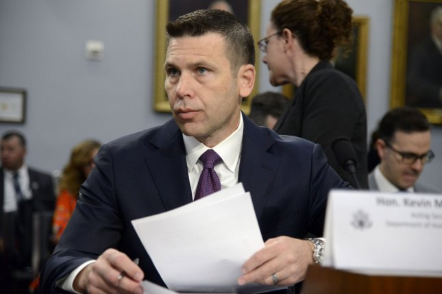 Acting Homeland Security Secretary Kevin McAleenan listens to opening statements prior to testifying before a House subcommittee on Tuesday. Photo by Mike Theiler/UPI