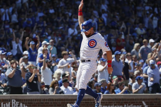 Chicago Cubs star Kyle Schwarber is hitting .236 with eight home runs and 18 RBIs this season. Photo by Kamil Krzaczynski/UPI