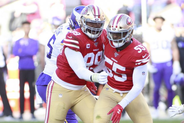 San Francisco 49ers defensive end Dee Ford (55) recorded 6.5 sacks and two forced fumbles in 11 regular-season games last season. File Photo by Bruce Gordon/UPI