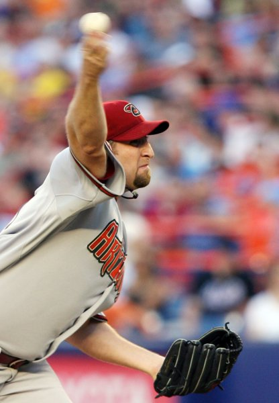 Brandon Webb pitches against the New York Mets on June 11, 2008. (UPI Photo/John Angelillo)