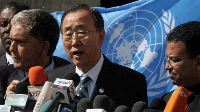 UN secretary general Ban Ki-moon speaks during a press conference as he visits the construction site of a housing project in Khan Yunis in the southern Gaza Strip on February 2, 2012. Protesters threw shoes, sand and small stones at the convoy of UN chief Ban Ki-moon as he entered the Gaza Strip for a visit. UPI/Abed Rahim Khatib