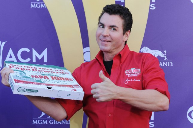 Papa John's Pizza CEO John Schnatter arrives at the 47th annual Academy of Country Music Awards at the MGM Hotel in Las Vegas, Nevada on April 1, 2012. UPI/Jim Ruymen
