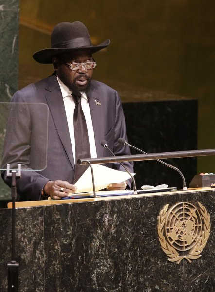President of South Sudan Salva Kiir speaks at the 69th United Nations General Assembly General Debate in the UN building in New York City in 2014. South Sudan broke out in to heavy gun fighting over the weekend as forces loyal to Kiir reported were attacking those loyal to Vice President Riek Machar. File Photo by John Angelillo/UPI