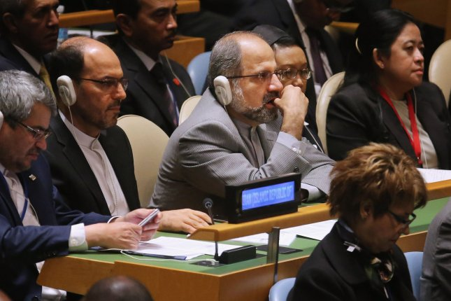 Iranian Minister of Foreign Affairs Mohammad Javad Zarif, center, said congressional passage extending the Iran Sanctions Act another 10 years indicated unreliability. Other Iran officials including President Hassan Rouhani condemned the extension and vowed to retaliate if the measure is signed into law by President Barack Obama. Pool photo by Chip Somodevilla/UPI