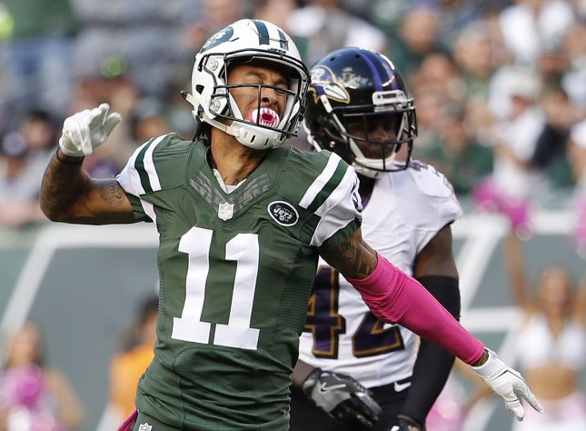 New York Jets receiver Robby Anderson reacts after making a catch against the Baltimore Ravens in a game against the Baltimore Ravens. Photo by John Angelillo/UPI