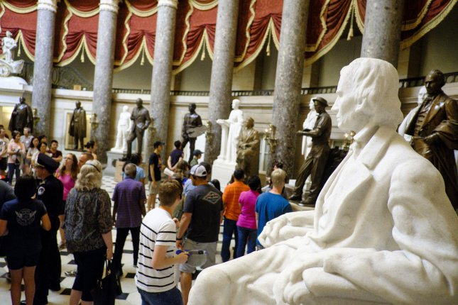 House Speaker Nancy Pelosi has called Confederate vice president Alexander Stephens' statue and those of 10 other Confederate leaders to be removed from Statuary Hall in the U.S Capitol. Photo by Pete Marovich/UPI