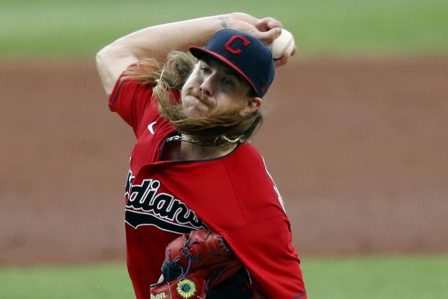 Cleveland Indians pitcher Mike Clevinger and the team's bullpen held the Cincinnati Reds to just three hits in a win Wednesday in Cleveland. Photo by Aaron Josefczyk/UPI