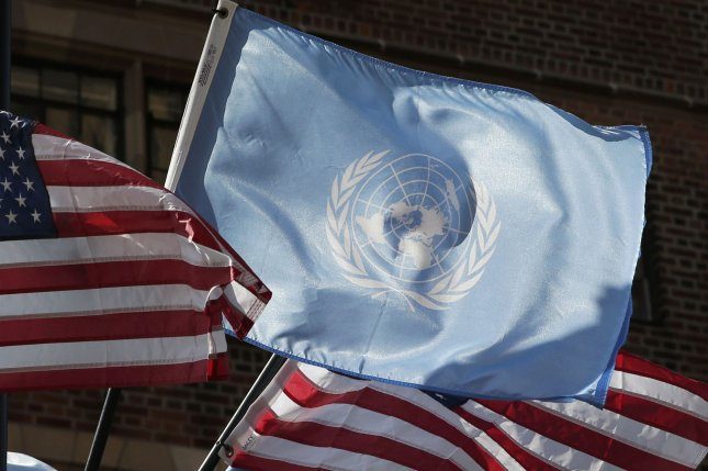 The flags of the United Nations and United States are seen outside of the U.N. building in New York City on Monday, one day before the start of the assembly's 75th General Debate. Photo by John Angelillo/UPI