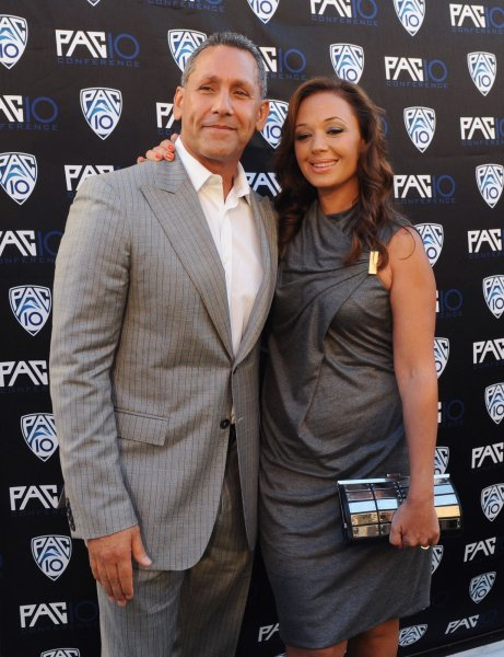 Actors and husband and wife Angelo Pagan (L) and Leah Remini attend FOX Sports/PAC-10 Conference Hollywood premiere night at 20th Century FOX Studios in Los Angeles on July 29, 2010. UPI/Jim Ruymen
