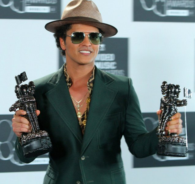 More people illegally downloaded music by Bruno Mars in 2013 than any other artist. UPI/Monika Graff
