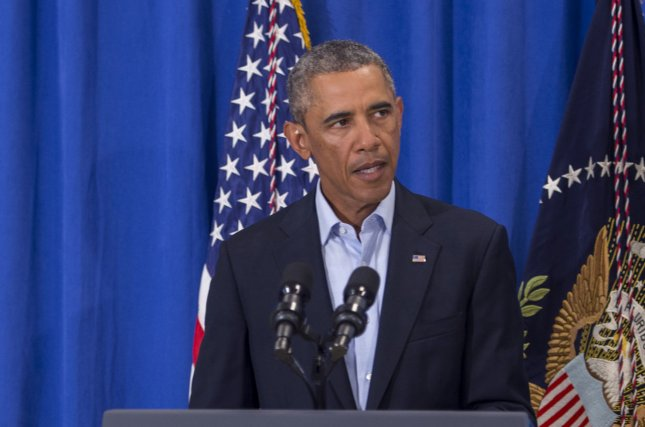President Barack Obama speaks about the execution of American journalist James Foley by the Islamic State during a press briefing at the Edgartown School in Edgartown, Martha's Vineyard, Massachusetts on August 20, 2014. (UPI/Rick Friedman/Pool)