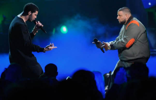 Drake (L) and DJ Khaled perform during the 2011 BET Awards on June 26, 2011. The duo has released a new collaborative track, For Free. File Photo by Jim Ruymen/UPI