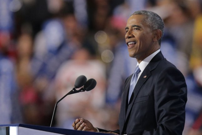 President Barack Obama speaks on Day Three of the Democratic National Convention at Wells Fargo Center in Philadelphia. He gave praise to Democratic presidential nominee Hillary Clinton, while at the same time touting his own accomplishments are president. Photo by Ray Stubblebine/UPI