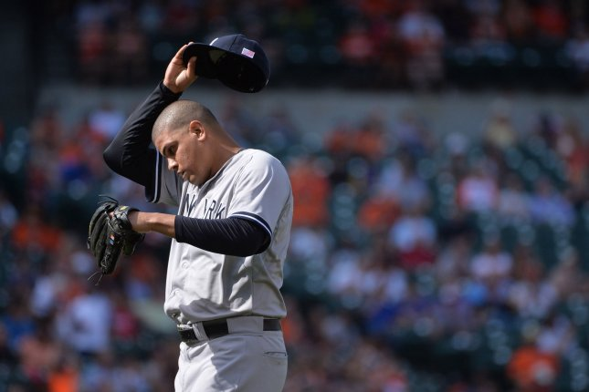 The New York Yankees won their arbitration case over reliever Dellin Betances on Saturday and then team president Randy Levine criticized Betances and his agent for requesting $5 million. File Photo by Kevin Dietsch/UPI