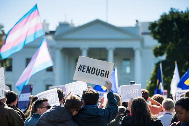 Transgender rights activists protest the Trump administration proposed plan to reversal recognition of gender fluidity, at the White House on October 22. Photo by Kevin Dietsch/UPI
