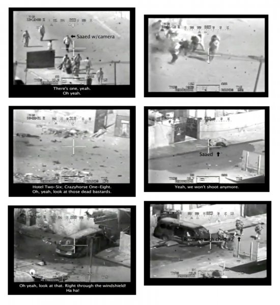 A series of frame grabs from a video posted on a website, WikiLeaks.org, shows a U.S. Army Apache helicopter firing on a group of people in a street east of Baghdad, Iraq on July 12, 2007. It is believed that a Reuters press photographer Namie Noor-Eldeen, his driver Saeed Chmagh, and two children were among those killed in the attack, and that Noor-Eldeen's camera equipment was mistaken for AK-47s. UPI/WikiLeaks.org