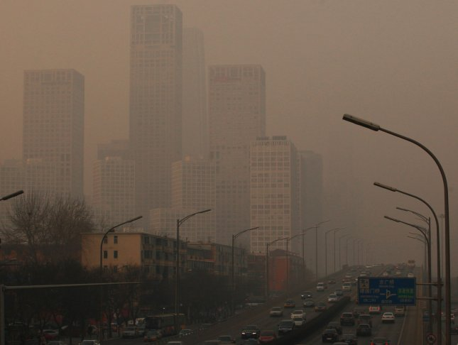 Climate change has little impact on air pollution deaths. Heavy smog, rated as 'Hazardous' by the the U.S. embassy air quality monitor, hangs over Beijing's central business district on February 22, 2013. UPI/Stephen Shaver