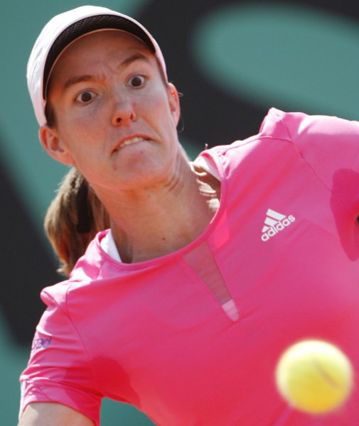 Belgian Justine Henin focuses on the ball while hitting a forehand during her final round match against Serbian Ana Ivanovic at the French Open at Roland Garros in Paris on June 9, 2007. Henin, the top seed, defeated the seventh-seeded Ivanovic in straight sets 6-1, 6-2 to win her third straight French Open Championship. (UPI Photo/ David Silpa)