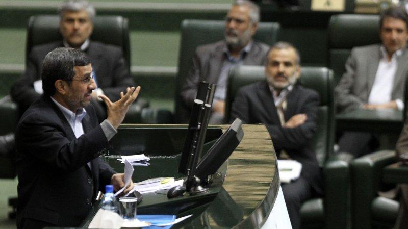 Iranian President Mahmoud Ahmadinejad speaks before parliament in Iran. UPI/Maryam Rahmanian