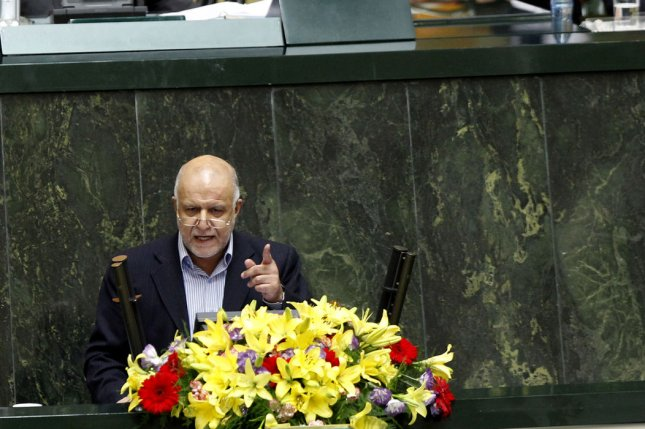 Iranian Oil Bijan Zanganeh says total oil production from the country is close to a pre-sanctions peak of 4 million barrels per day. Fil ephoto by Maryam Rahmanian/UPI