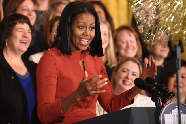 First Lady Michelle Obama delivers remarks at the 2017 School Counselor of the Year event on January 6. Obama appeared on The Tonight Show Wednesday where she recieved a special performance from Stevie Wonder. Photo by Pat Benic/UPI