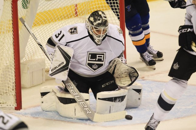 Los Angeles Kings' goaltender Peter Budaj stopped 24 shots and got some fortunate bounces against his former team as the Los Angeles Kings beat the Colorado Avalanche 2-1 on Tuesday night. File Photo by Bill Greenblatt/UPI