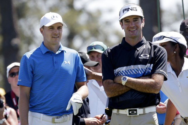Bubba Watson and Jordan Spieth wait to hit a tee shot while playing a practice round at the 2017 Masters Tournament at Augusta National Golf Club in Augusta, Georgia on April 2, 2017. Photo by John Angelillo/UPI