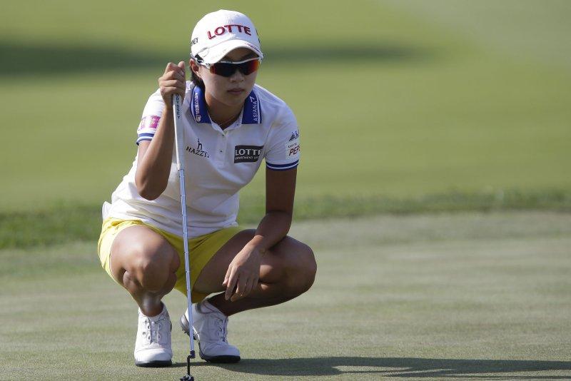 Hyo Joo Kim of Korea is tied for the lead with Alena Sharp and Lexi Thompson at the ManuLife LPGA Classic. File photo by John Angelillo/UPI